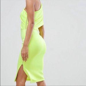 ASOS One Shoulder Neon Yellow Expose Zipper Dress